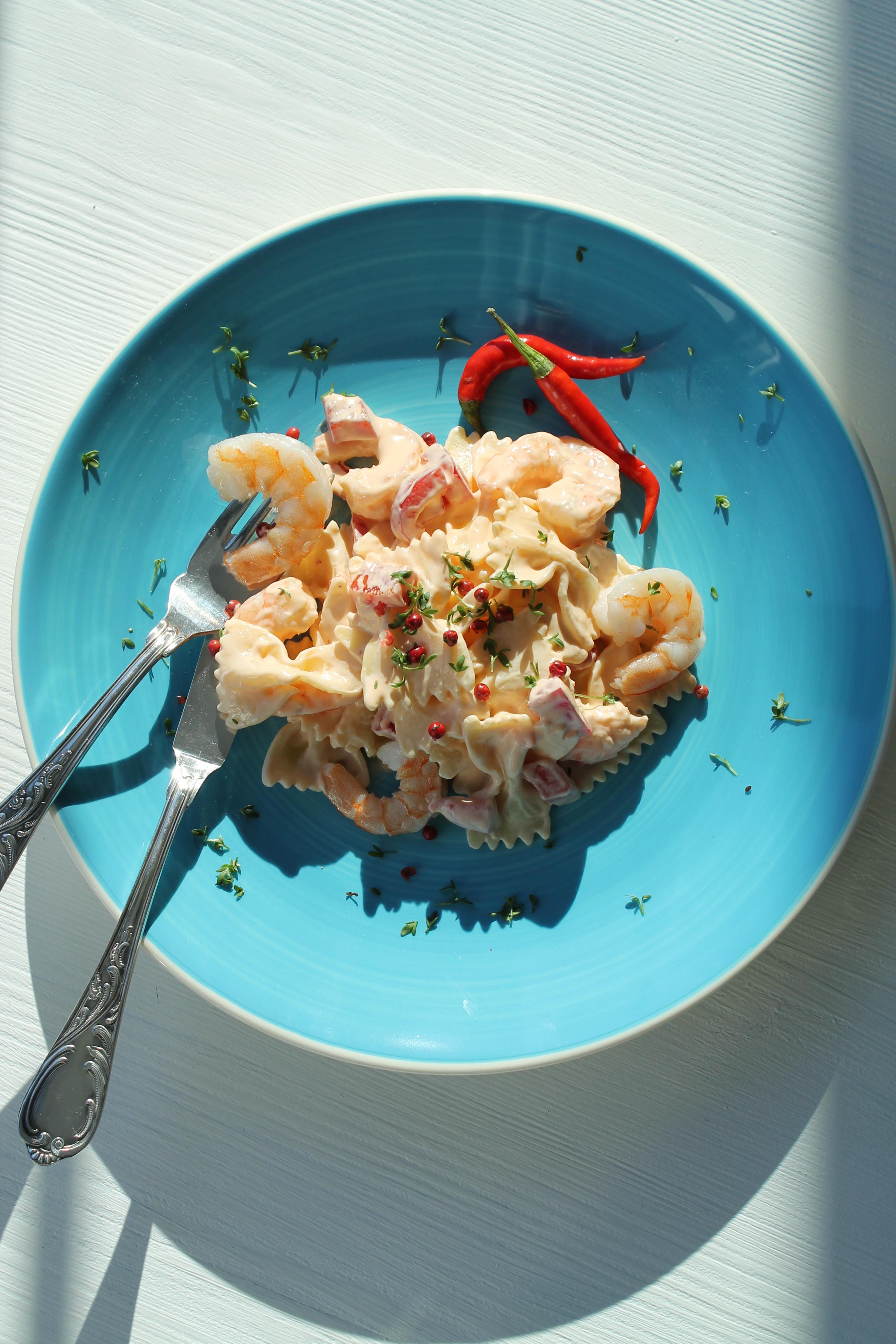 Garnelen in Paprika Chili-Frischkäse-Creme